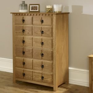 Handcrafted 7 Drawer Chest in Solid Oak