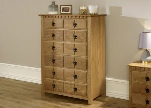 Tall 7 Drawer Natural Wood Chest of Drawers