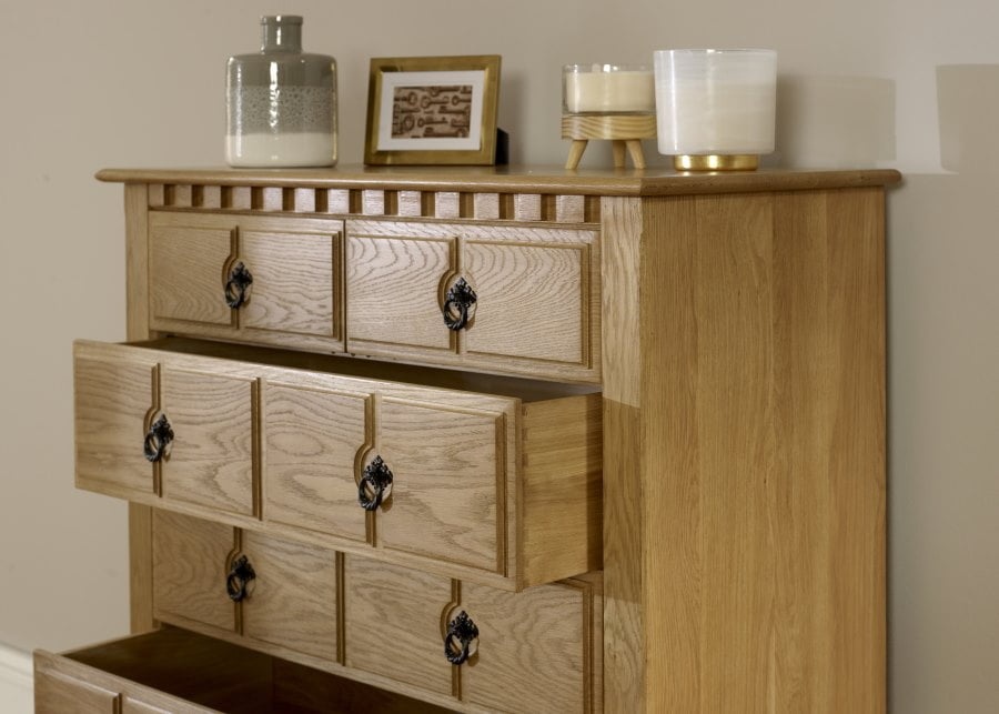 2 over 5 Chest in Solid Oak Close Up Detail