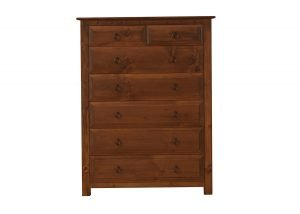 Tall 7 Drawer Natural Wood Chest
