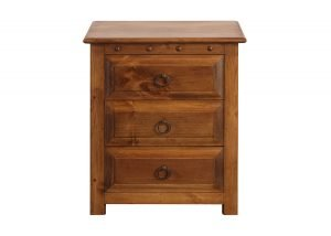 3 Door Bedside Cabinet in Natural Wood