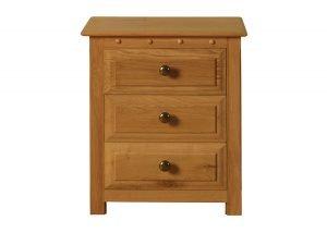Solid Oak 3 Door Bedside Cabinet