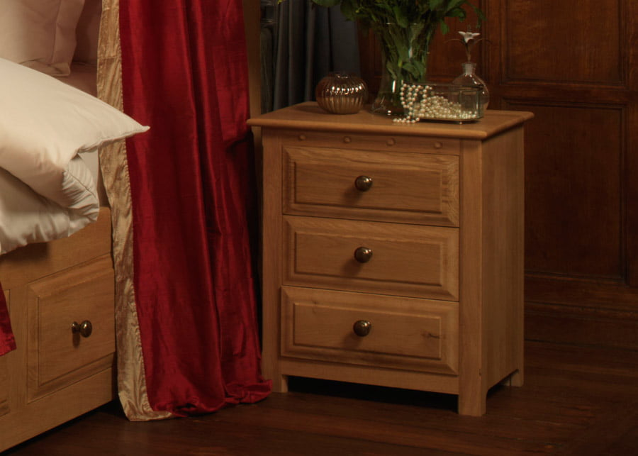 3 Door Oak Bedside Cabinet with Brass Handles