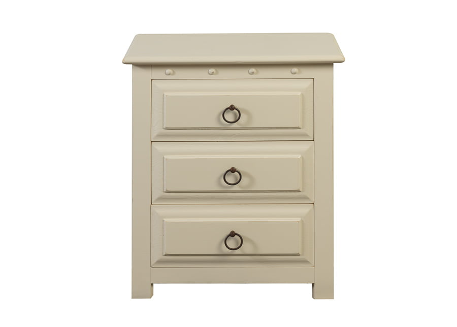 Painted 3 Door Solid Wood Bedside Cabinet