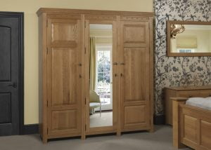 3 Door Oak Wardrobe with Mirror