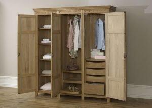 Open Solid Oak 3 Door Wardrobe with Drawers