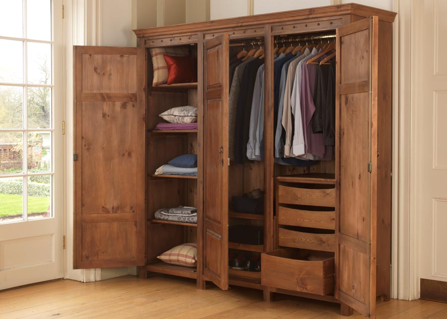 3 Door Wooden Wardrobe with Drawers, Shelves and Hanging Rails