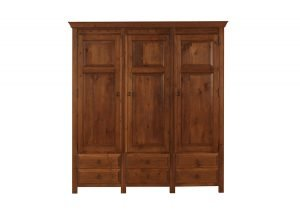 Solid Wood 3 Door Wardrobe with Drawers