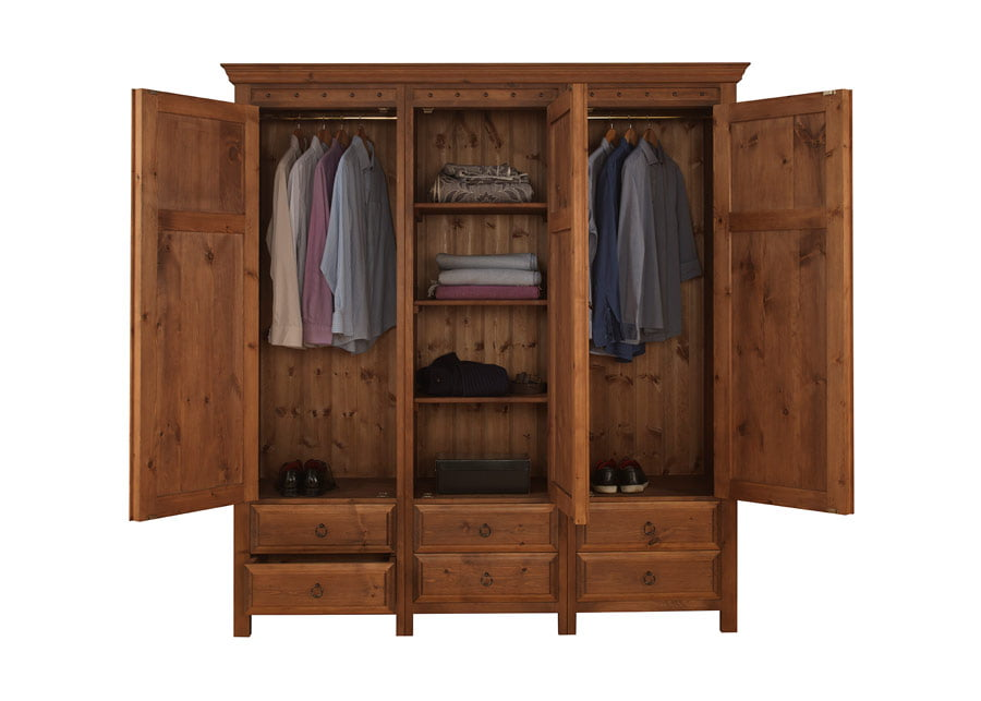 door wardrobe with drawers 3 door with 6 drawers in solid wood 4
