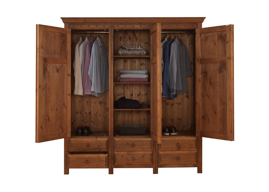 3 Door Wooden Wardrobe with 6 Drawers