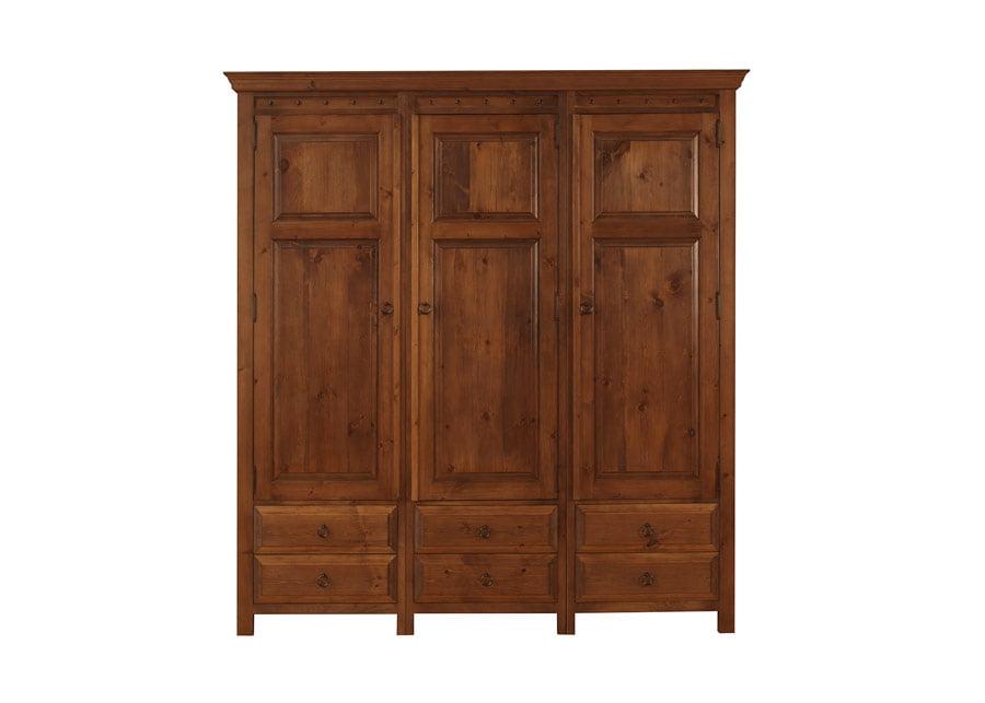 Solid Wood 3 Door Wardrobe with Drawers