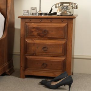 Solid Wood 3 Door Bedside Cabinet