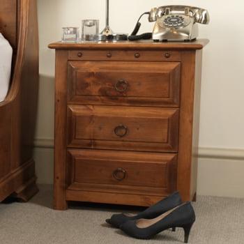 Solid Wood 3 Door Bedside Cabinet
