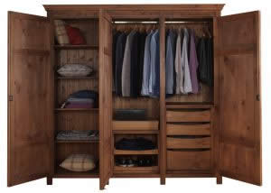 3 Door Wardrobe with Shelves and Drawers