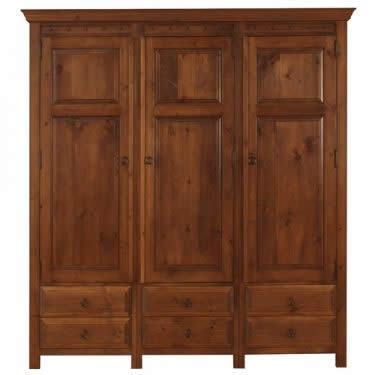 3 Door Wardrobe with Wooden Drawers