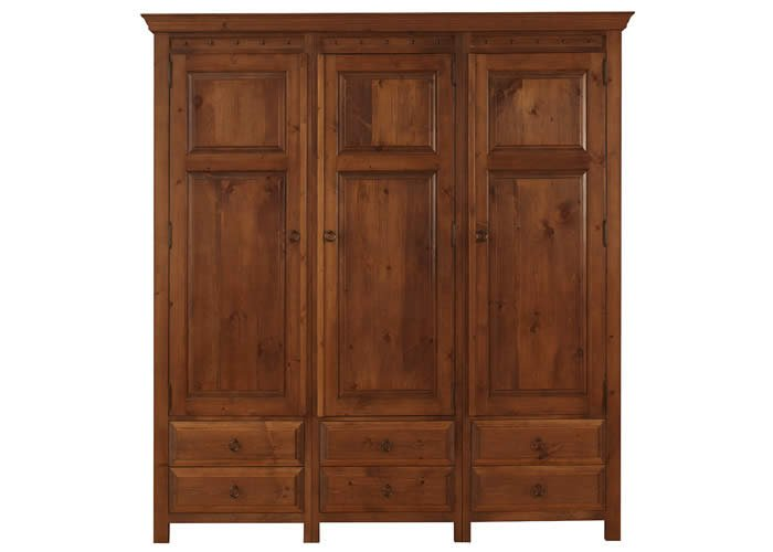 3 Door Wardrobe With 6 Large Drawers In Solid Wood