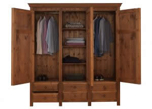 Open 3 Door Solid Wood Wardrobe with Drawers