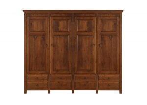 4 Door Solid Wooden Wardrobe with 8 Drawers