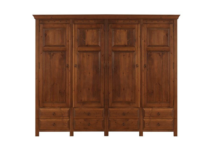4 Door Wardrobe With 8 Drawers In Solid Wood