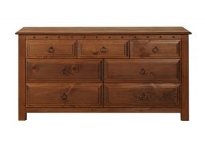 Seven Drawer Long Chest in Natural Wood