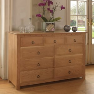Solid Oak 9 Drawer Chest
