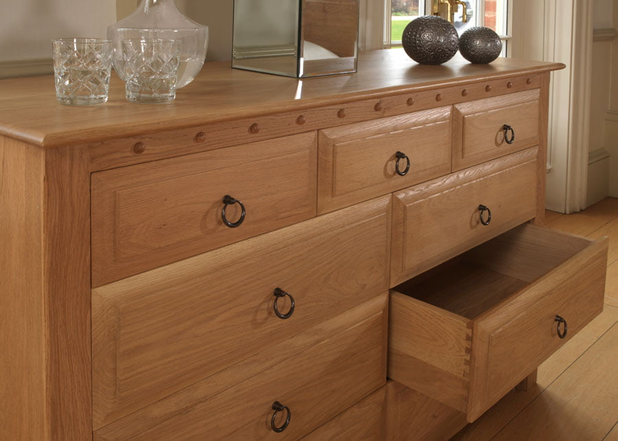 9 Drawer Solid Oak Chest with Open Drawer