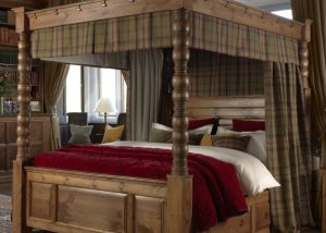 Luxury Drapes and Curtains on Four Poster Bed