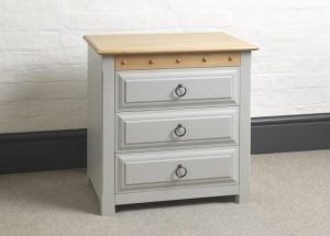 Painted Bedside Cabinet with Wooden Top