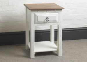 Painted Bedside Table with Antique Mahogany Top