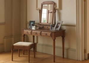 Solid Wood Dressing Table, Stool and Mirror