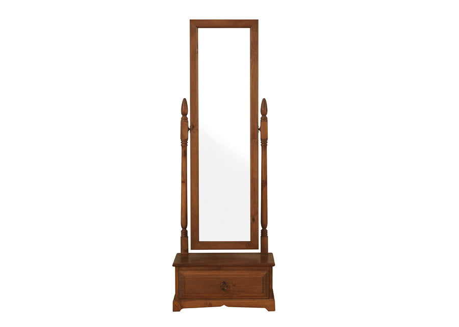 Free Standing Full Length Mirror with Wooden Drawer