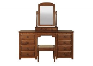 Double Pedestal Dressing Table, Stool and Mirror