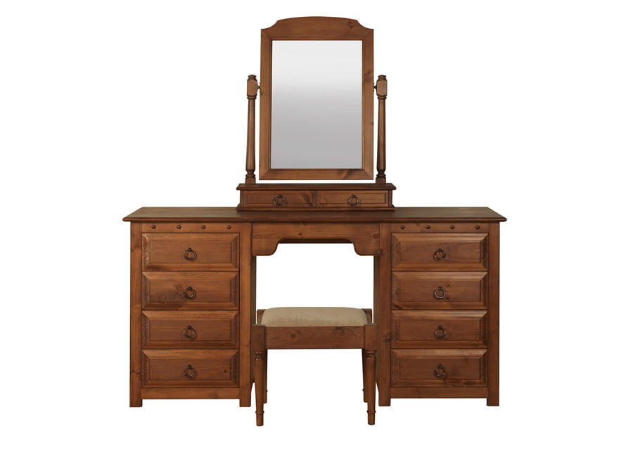 Solid Wood Double Pedestal Dressing Table Mirror And Stool