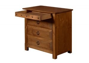 Natural Wood Bedside Cabinet with Concealed Drawer