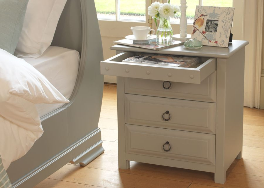 Large Painted Bedside Cabinet with Concealed Drawer