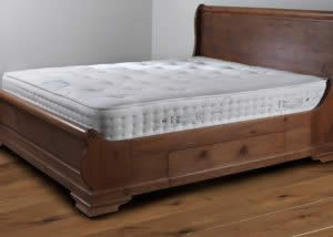 Luxury Mattress on Wooden Sleigh Bed with Underbed Storage