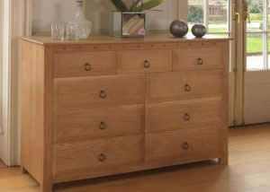 9 Drawer Oak Hand Crafted Chest