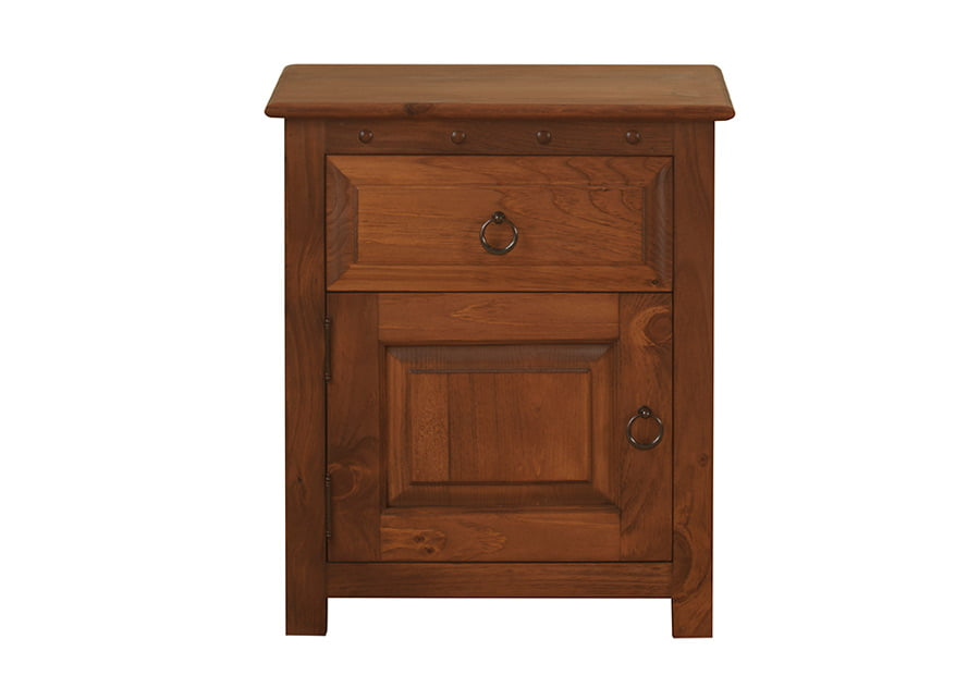 Solid Natural Wood Bedside Cabinet with Door