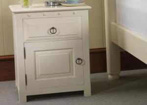 Painted Bedside Cupboard with a Drawer and Door
