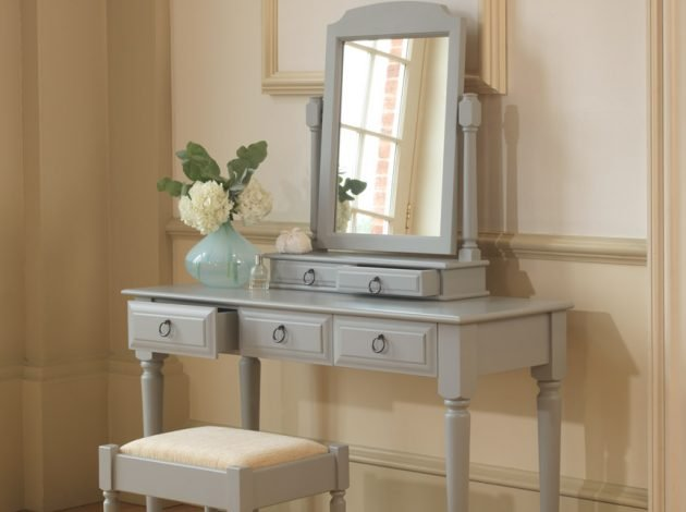 Painted Dressing Table with Stool and Mirror