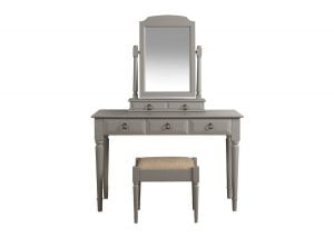 Grey Painted Dressing Table with Stool and Mirror