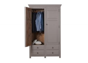 2 Door Painted Wooden Wardrobe with 4 Drawers