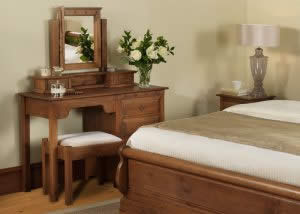 Handmade Sleigh Bed with Dressing Table arrangement