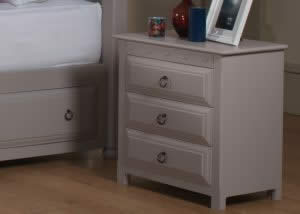 Painted 3 Drawer Bedside with Ring Handles