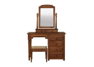 Solid Wood Dressing Table with Stool and Mirror