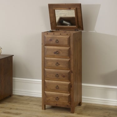 Solid Wood Vanity Chest with Mirror