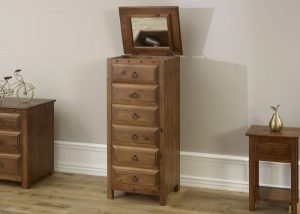 Vanity Chest in Solid Wood with Open Mirror