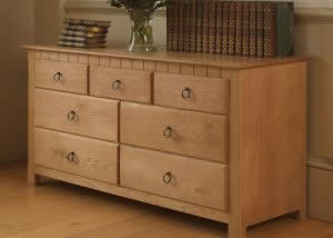 Solid Oak Chest of Drawers with Ring Pull Handles
