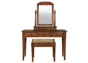 Hand Crafted Dressing Table with Mirror and Stool