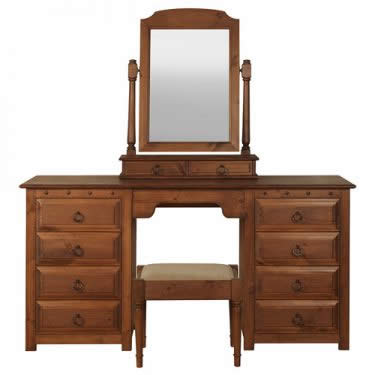 Solid Wood Dressing Table with Mirror and Stool